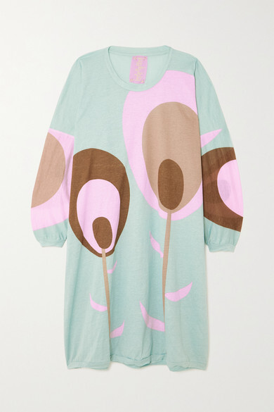 Thumbnail for your product : Yvonne S Floral-print Cotton-jersey Dress - Sky blue