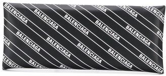 Balenciaga Logo Print Hard Folded Clutch Bag