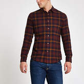 Mens Only and Sons Purple check long sleeve shirt