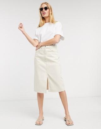 Selected may denim a line midi skirt in cream