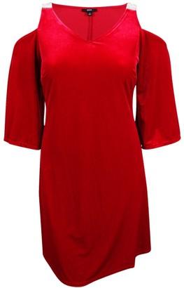 MSK Women's V-Neck Velvet Cold Shoulder