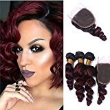 Tony Beauty Hair Brazilian Virgin Human Hair Loose Wave Bundles With Closure Ombre Color #1B/99J 3 Bundles Hair Extensions With Lace Closure 4x4 (28 28 28+24 inch closure)