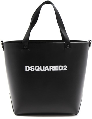 DSQUARED2 Black Leather Tote Bag With Logo