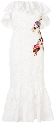 Marchesa Lace Embroidered Off The Shoulder Dress