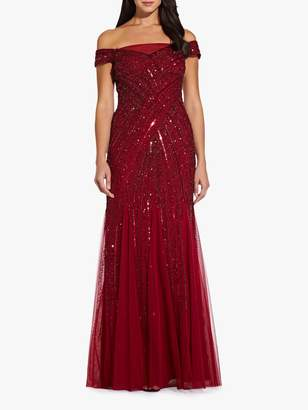 Adrianna Papell Beaded Off Shoulder Maxi Dress, Cranberry