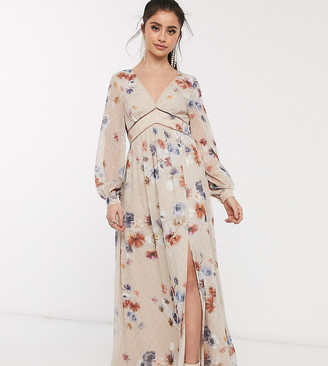 Little Mistress Petite plunge maxi dress in floral with gold fleck