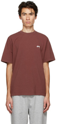 Stussy Burgundy Stock Logo T-Shirt