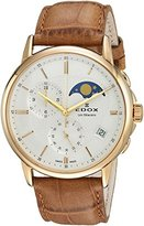 Edox Men's 'Les Bemonts' Swiss Quartz Stainless Steel and Leather Dress Watch, Color:Brown (Model: 01651 37J AID)
