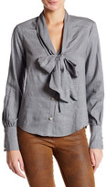 ABS by Allen Schwartz Long Sleeve Neck Tie Button Up Blouse