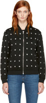 McQ by Alexander McQueen Black and White Micro Swallow Bomber Jacket