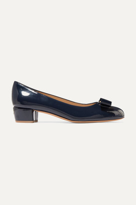 Salvatore Ferragamo Vara Bow-embellished Patent-leather Pumps - Navy