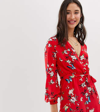 Parisian Tall long sleeve tie waist playsuit in red floral print