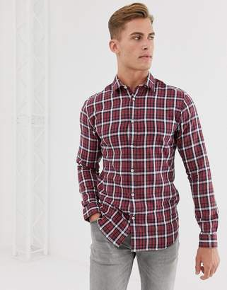 Selected check shirt in red