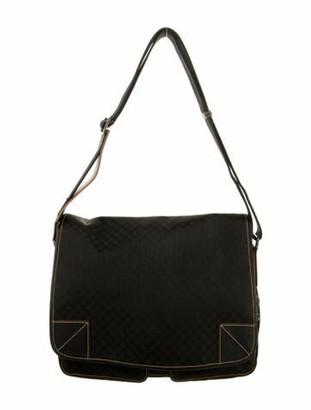 Celine Vintage Macadam Canvas Messenger Bag Black