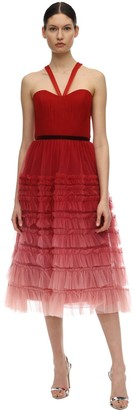 Marchesa Tiered Gradient Tulle Midi Dress