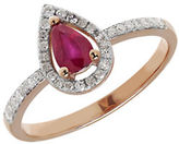 Fine Jewellery 14K Rose Gold Pear Ruby and Diamond Ring