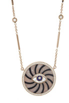 Jacquie Aiche Pink Opal and Black Onyx Evil Eye Pendant Necklace - Rose Gold