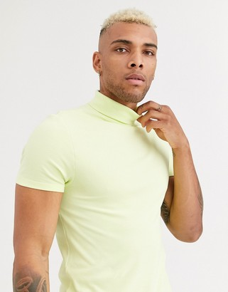 Asos Design DESIGN organic muscle fit roll neck in pique in pale yellow-Green