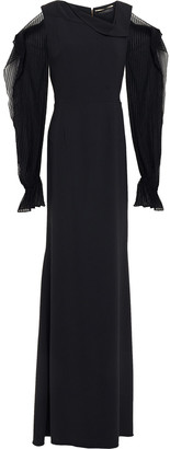 Roland Mouret Cutout Flocked Crepon And Crepe Gown