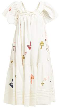 story. Mfg - Aida Embroidered Linen Blend Dress - Womens - White Multi