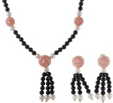Christian Dior 18K Yellow Gold Onyx Pearl and Coral Rosebud Earring and Necklace Set