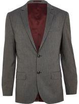 River Island MensGrey stripe slim suit jacket