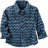 Osh Kosh Toddler Boy Denim Wave Print Button-Up Shirt