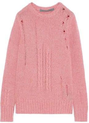 Raquel Allegra Distressed Merino Wool-blend Sweater