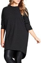 City Chic Plus Size Women's Stripe Oversize Tee