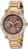 Burgi Women's BUR091RG Rose Gold Quartz Watch with Brown Dial and Rose Gold Bracelet