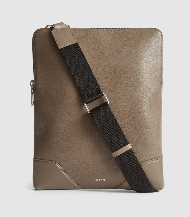 Reiss Elliott - Leather Laptop Messenger Bag in Clay