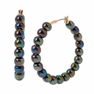 Kenneth Cole Oil Slick Pearl Hoop Earrings