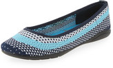 Adrienne Vittadini Moonstone Striped Knit Flat, White/Pool Blue