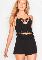 Missy Empire Sara Black Tassel High Waisted Shorts