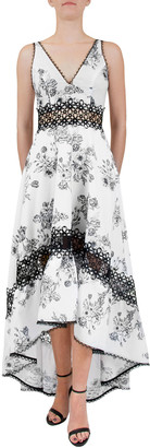 Nha Khanh Strappy V-Neck Floral High-Low Dress