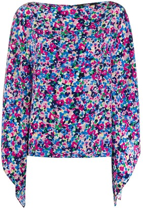 Karl Lagerfeld Paris Floral Print Silk Top