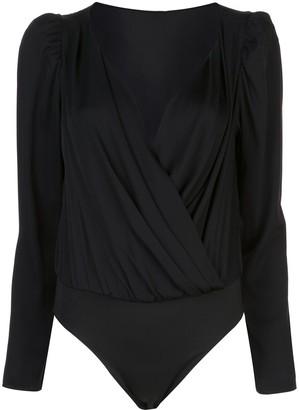 Milly long-sleeve wrap bodysuit