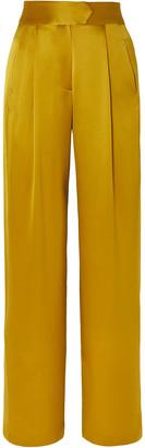 Mason by Michelle Mason Gathered Silk-charmeuse Wide-leg Pants