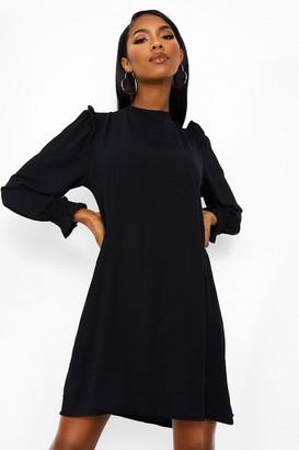 boohoo Frill Detail Long Sleeve Smock Dress