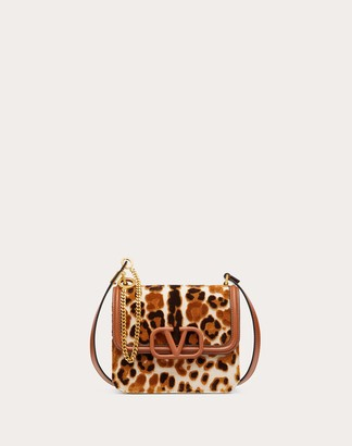 Valentino Small Vsling Canvas Shoulder Bag With Leopard Embroidery Women Silver 100% Pelle Di Vitello - Bos Taurus OneSize