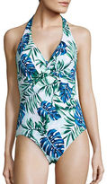 Tommy Bahama Fronds Floating Halterneck Twist-Front One-Piece Swimsuit
