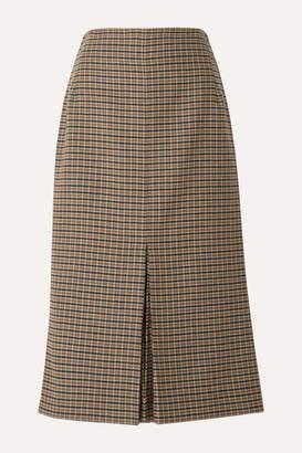 Victoria Beckham Checked Wool Midi Skirt - Brown