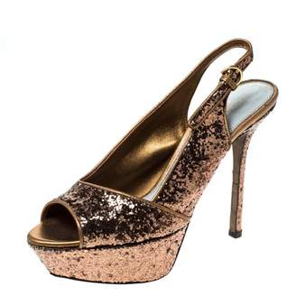 Sergio Rossi Metallic Glitter Sandals