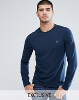 Jack Wills T-Shirt With Long Sleeves And Logo In Navy Exclusive