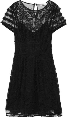 RED Valentino Ruffle-trimmed Embroidered Tulle Dress