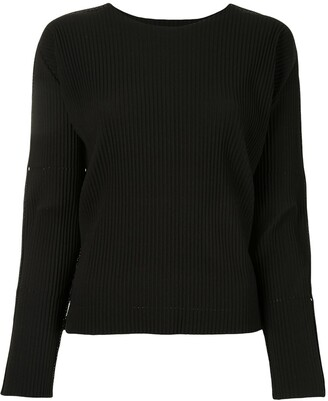 Issey Miyake A-Ploc pleated round neck top