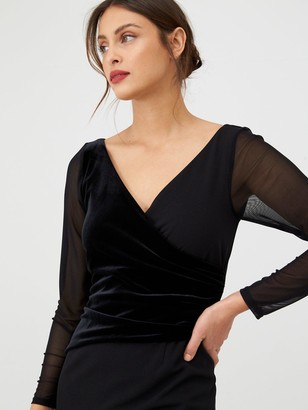 Gina Bacconi Velvet and Chiffon Long Sleeve Dress - Black