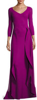 Chiara Boni Lorelei V-Neck 3/4 Sleeves Evening Gown w/ Ruffled Overskirt