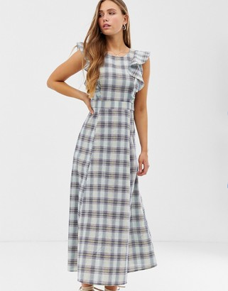 Glamorous maxi dress with full skirt in check
