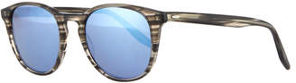 Barton Perreira Men's Plimsoul Round Sunglasses, Gray/Blue